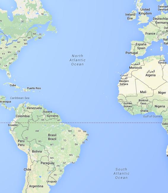 Weltkarte Südamerika 2015